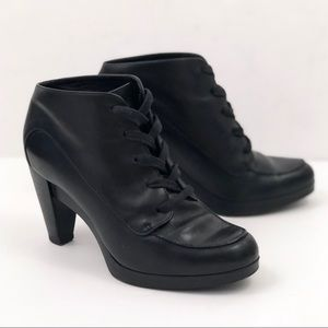 Cole Haan Black Lace Up Heel Ankle Booties